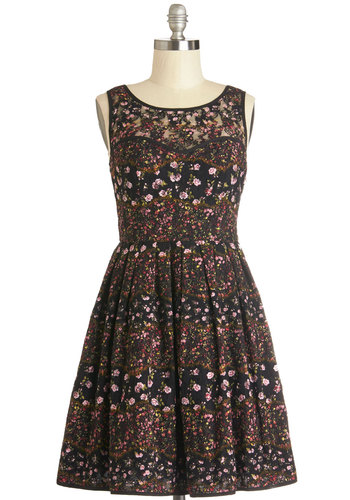Country Cottage Dining Dress - Sheer, Knit, Mid-length, Black, Multi, Floral, Lace, Pleats, Party, A-line, Sleeveless, Better, Scoop, Lace