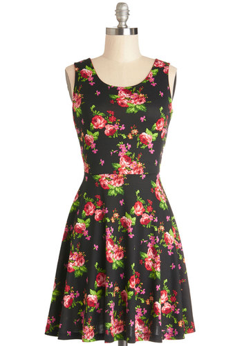 Serene Gardens Dress - Knit, Mid-length, Floral, Bows, Casual, A-line, Tank top (2 thick straps), Good, Scoop, Multi, Red, Green, Pink, Black
