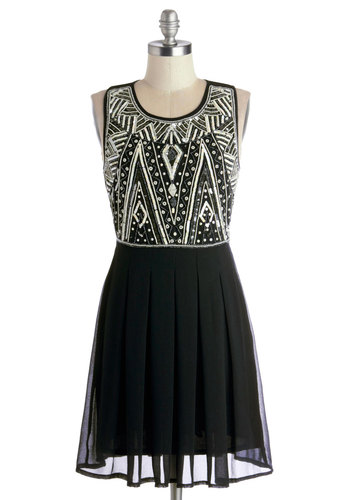 Moderne to Wear Dress - White, Beads, Sequins, Holiday Party, A-line, Sleeveless, Better, Scoop, Cocktail, Pleats, Mid-length, Chiffon, Woven, Black, 20s, Prom