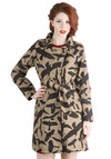Ready to Flock Coat by Ruby Rocks - Cotton, Woven, Long, 2, Tan, Black, Print with Animals, Buttons, Epaulets, Pockets, Belted, Long Sleeve