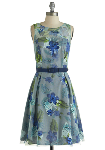 Allow Me to Introduce Dress by Eva Franco - Sheer, Knit, Mid-length, Blue, Multi, Floral, Belted, Daytime Party, A-line, Sleeveless, Better, Wedding