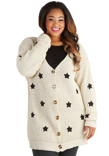 Moseying Meetings Cardigan in Oatmeal - Plus Size - Knit, Cream, Black, Novelty Print, Buttons, Casual, Long Sleeve, Variation, V Neck