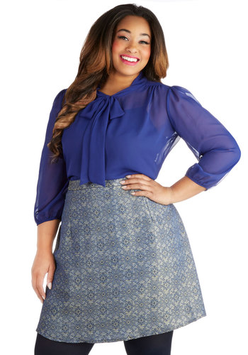 Night at the Planetarium Skirt in Plus Size - Woven, Blue, Gold, Floral, Party, Holiday Party, A-line