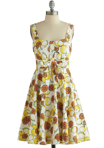 Pull Up a Cherry Dress in Citrus - Yellow, Multi, Novelty Print, Bows, Casual, Fruits, A-line, Sleeveless, Good, Vintage Inspired, 50s, Variation, Woven, Sundress, Top Rated, Social Placements, Press Placement, Full-Size Run, Mid-length