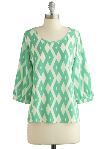 Favorite Angle Top - Mint, White, Print, 3/4 Sleeve, Better, Green, 3/4 Sleeve, Scoop, Chiffon, Sheer, Woven, Mid-length, Spring, Press Placement