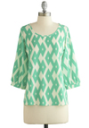 Favorite Angle Top - Mint, White, Print, 3/4 Sleeve, Better, Green, 3/4 Sleeve, Scoop, Chiffon, Sheer, Woven, Mid-length, Spring