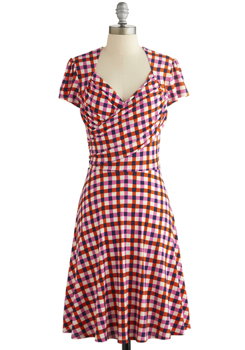 Kelly's Vivid in the Moment Dress in Picnic by Leota - Multi, Checkered / Gingham, Casual, A-line, Short Sleeves, Better, Variation, Knit, Spring, Summer, Work, Americana, Show On Featured Sale, Long