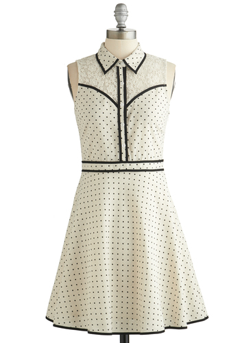 Fresh Fortitude Dress - White, Black, Polka Dots, Lace, Casual, Shirt Dress, Sleeveless, Better, Collared, Buttons, Cotton, Sheer, Woven, Mid-length, Trim, Spring