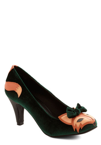 Smooth Statement Heel in Velvet - Green, Print with Animals, Bows, Kawaii, Mid, Knit, Quirky, Better, Orange, Woodland Creature