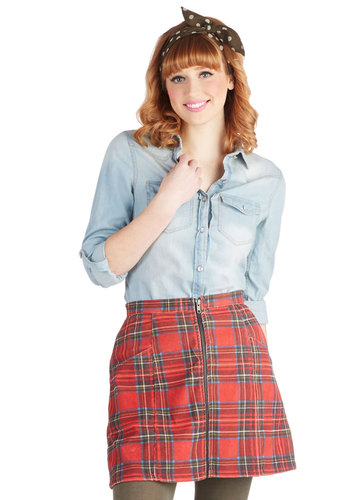 Plaid You Asked Skirt by Mink Pink - Red, Green, Black, Plaid, Exposed zipper, Mini, Woven, Short, Pockets, Casual, Vintage Inspired, 90s, Fall, Winter