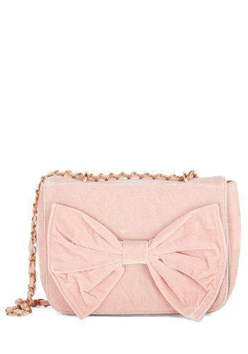 Viva Velvet Bag by Kling - Pink, Solid, Bows, Chain, Better, International Designer, Party, Spring