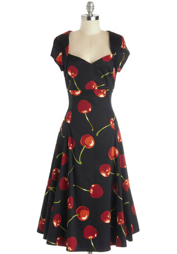 Small Business Spotlight Dress in Cherries - Novelty Print, Casual, Rockabilly, Vintage Inspired, 50s, Fruits, Fit & Flare, Cap Sleeves, Better, Sweetheart, Cotton, Woven, Long, Red, Black