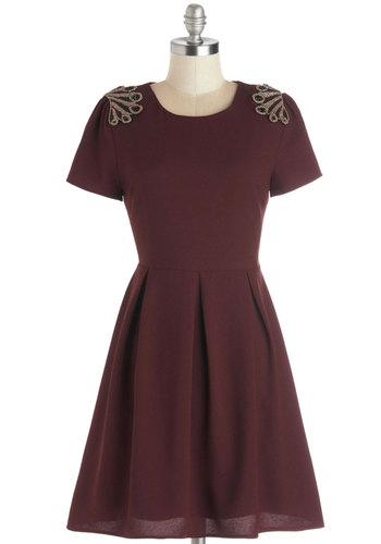 Islet Getaway Dress - Red, Black, Gold, Beads, Pleats, Party, A-line, Short Sleeves, Better, Scoop, Woven, Mid-length, Epaulets