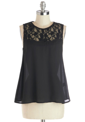Airy Princess Top in Black - Sheer, Woven, Mid-length, Black, Solid, Buttons, Lace, Party, Tent / Trapeze, Sleeveless, Black, Sleeveless, Lace