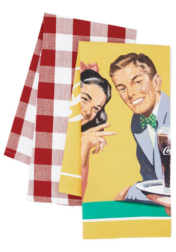 By Pop-ular Demand Tea Towel Set - Cotton, Woven, Multi, Vintage Inspired, Good, Checkered / Gingham, Novelty Print, Wedding, Americana, Hostess, Top Rated, Summer