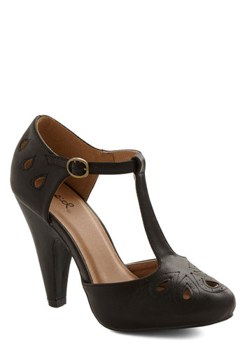 Dynamic Debut Heel in Black - High, Faux Leather, Black, Solid, Cutout, Party, Vintage Inspired, 30s, 40s, T-Strap, Film Noir, Variation