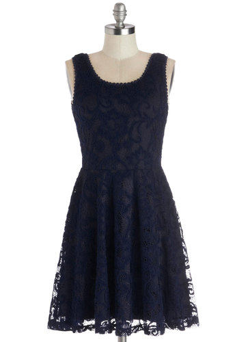 A Simple Gesture Dress - Woven, Mid-length, Blue, Lace, Casual, A-line, Tank top (2 thick straps), Scoop, Lace
