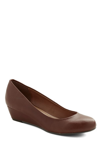 Boss Balance Wedge in Brown - Low, Faux Leather, Solid, Work, Minimal, Good, Wedge, Brown, Variation, Basic