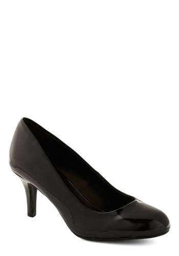At a Moment's Notice Heel in Black - Mid, Faux Leather, Black, Solid, Work, Minimal, Good, Party, Variation