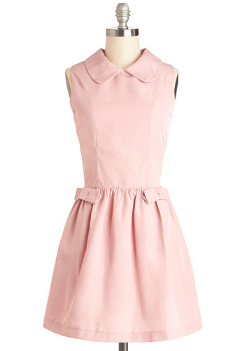 Artisanal Macarons Dress by Kling - Pink, Solid, Bows, Exposed zipper, Casual, Vintage Inspired, Darling, A-line, Sleeveless, Collared, Woven, Short, Better, Peter Pan Collar, Valentine's, Pastel
