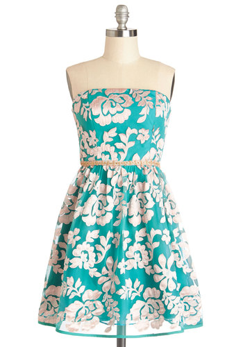 Champagne and Flowers Dress - Knit, Woven, Short, Blue, White, Floral, Beads, Party, A-line, Strapless, Prom, Wedding, Bridesmaid