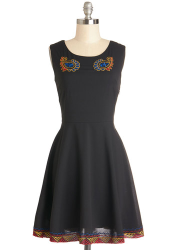 Artisan Residence Dress - Black, Embroidery, Party, A-line, Sleeveless, Better, Scoop, Woven, Mid-length, Multi