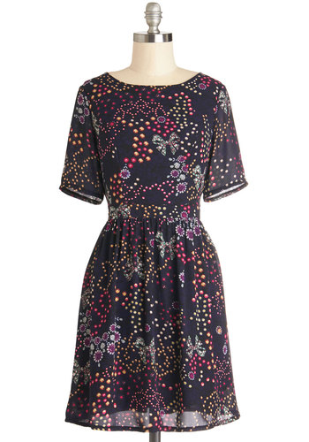 Gorgeous Gems Dress - Print, Casual, Quirky, A-line, Short Sleeves, Better, Scoop, Woven, Mid-length, Multi