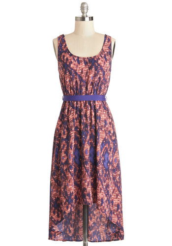Eclectic Slide Dress - Print, Belted, Casual, A-line, Tank top (2 thick straps), Good, Scoop, Woven, Mid-length, Purple, Pink, High-Low Hem