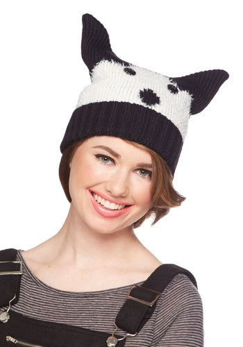 Alaska but Not Least Hat by Kling - Knit, Black, White, Print with Animals, Quirky, Critters, Winter