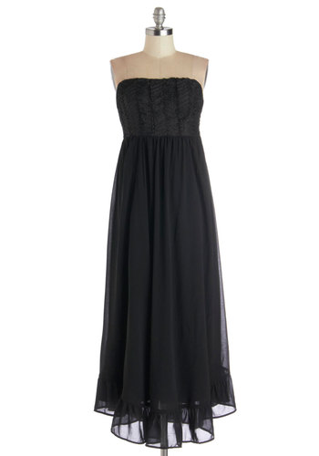 Outdoor Opera Dress - Chiffon, Woven, Long, Black, Solid, Ruffles, Cocktail, Maxi, Strapless, Good, Sweetheart