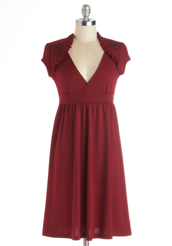 Belles and Whistles Dress in Burgundy - Knit, Mid-length, Red, Solid, Embroidery, Ruffles, Casual, Empire, Cap Sleeves, Good, V Neck