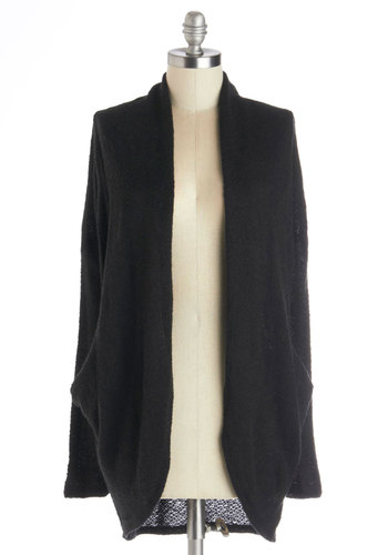 Daydreaming at Dawn Cardigan - Mid-length, Sheer, Knit, Black, Solid, Long Sleeve, Good, Black, Long Sleeve, Pockets, Casual, Minimal