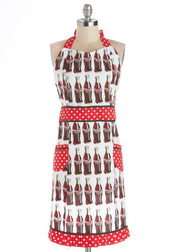 Soda Pop Art Apron - Cotton, Woven, Multi, Vintage Inspired, Food, Good, Polka Dots, Novelty Print, Pockets, Summer, Americana