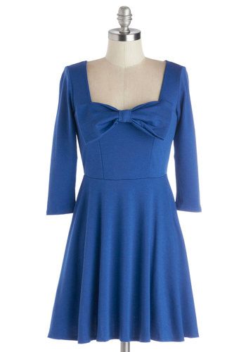 TGI Thursday Dress - Knit, Short, Blue, Solid, Bows, Casual, A-line, 3/4 Sleeve, Good