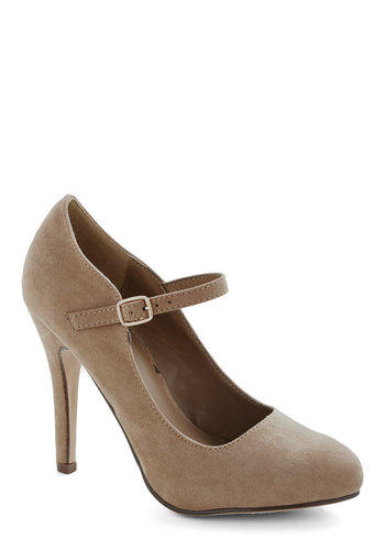 Videoconference Confidence Heels in Taupe - High, Faux Leather, Tan, Solid, Wedding, Party, Work, Good, Mary Jane, Variation