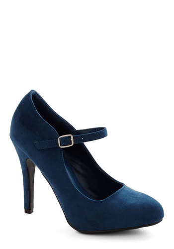 Videoconference Confidence Heels in Navy - High, Faux Leather, Blue, Solid, Wedding, Holiday Party, Good, Party, Work, Mary Jane, Variation