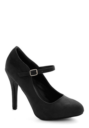 Videoconference Confidence Heels in Black - High, Faux Leather, Black, Solid, Party, Good, Work, Mary Jane, Variation