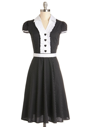 About the Artist Dress in Black and White - Cotton, Woven, Long, Black, White, Buttons, Ruffles, A-line, Cap Sleeves, Good, Collared, Polka Dots, Daytime Party, Top Rated