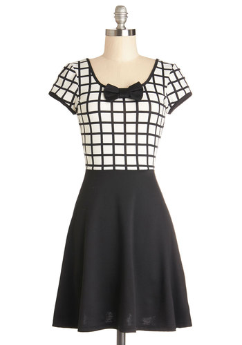 Abraca-fabulous Dress - Knit, Mid-length, Black, White, Print, Bows, Casual, A-line, Short Sleeves, Better, Scoop, Spring, Full-Size Run