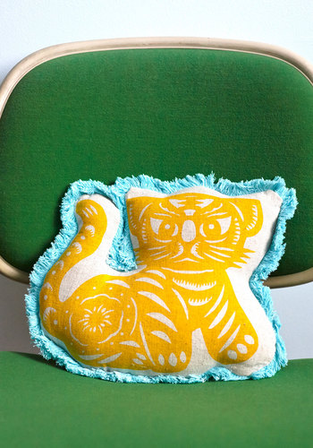 Decorate Your Den Pillow - Woven, Yellow, Boho, Cats, Good, Blue, Fringed, Gals, Critters