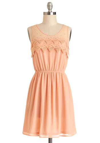 Peach Julep Dress - Woven, Mid-length, Pink, Solid, Crochet, Embroidery, Casual, A-line, Tank top (2 thick straps), Good, Scoop, Pastel