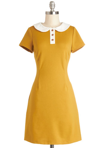 Show Me the Honey Dress - Knit, Mid-length, Yellow, White, Buttons, Pockets, Casual, Sheath / Shift, Short Sleeves, Better, Collared, Solid, Peter Pan Collar, Vintage Inspired, 60s, Exclusives