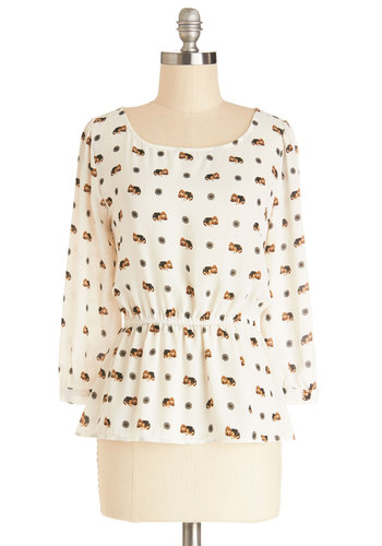 Fun Fur All Top - Chiffon, Sheer, Woven, Mid-length, Tan, Multi, Print with Animals, Casual, Peplum, Long Sleeve, Scoop, Multi, Long Sleeve, Critters, Dog
