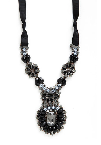 Flourish of Fanciness Necklace - Black, Grey, Solid, Beads, Pearls, Best, Woven, Cocktail