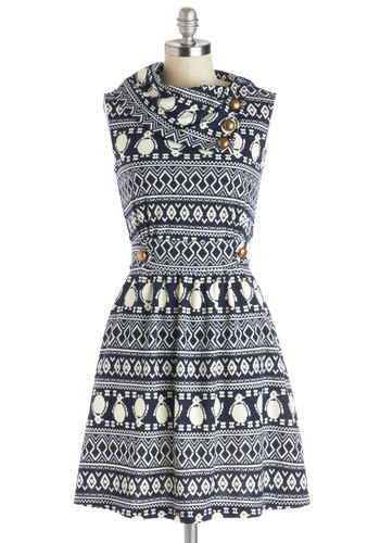 Coach Tour Dress in Penguins - Knit, Blue, White, Print with Animals, Buttons, Pockets, Casual, Sleeveless, Good, Cowl, A-line, Winter, Variation, Exclusives