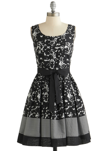 Inkwell and Good Dress - Black, White, Floral, Belted, Daytime Party, Fit & Flare, Sleeveless, Better, Scoop, Cotton, Woven, Mid-length, Wedding, Graduation