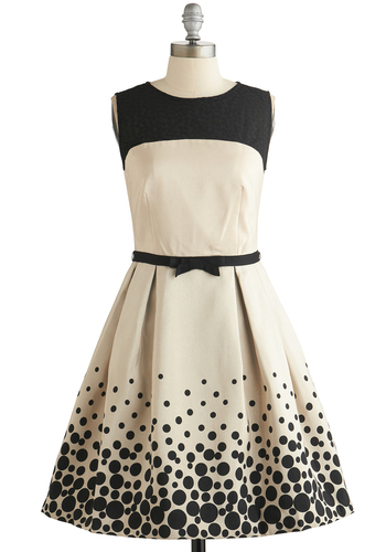 Fizz This Love? Dress - Cream, Black, Polka Dots, Bows, Pleats, Pockets, Special Occasion, Prom, A-line, Sleeveless, Better, Scoop, Exposed zipper, Sheer, Knit, Woven, Mid-length, Valentine's, Wedding