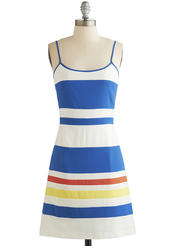 Catamaran Cool Dress - Multi, Stripes, Casual, Beach/Resort, Shift, Spaghetti Straps, Better, Scoop, Nautical, Woven, Mid-length, Spring, Summer