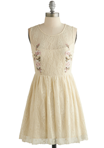 Contour of the Countryside Dress - Cream, Lace, Party, A-line, Sleeveless, Good, Scoop, Embroidery, Fairytale, Sheer, Knit, Short, Lace, Festival
