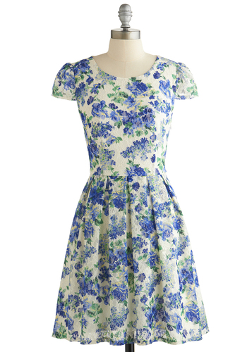 Sky Vine Dress - Blue, Multi, Floral, Pleats, Daytime Party, A-line, Cap Sleeves, Better, Scoop, Tan / Cream, Cutout, Sheer, Knit, Short, Spring, Show On Featured Sale